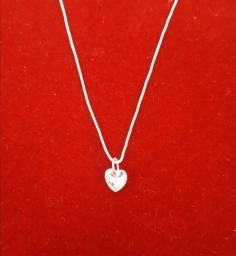 Colar em prata 925  coração