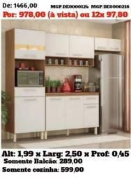 Armario de Cozinha Com Balcão-Cozinha Compacto com Balcão- Saldão em MS