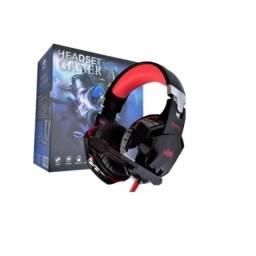 Fone De Ouvido Gamer Headset Knup 455 Vermel C/led Microfone