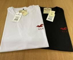 Camiseta Hollister Premium Branco, Preta
