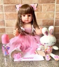 Linda boneca bebê Reborn toda em Silicone realista 55 cm nova (aceito cartão)