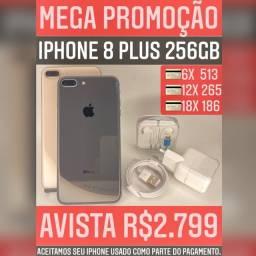 iPhone 8 Plus 256gb, somos loja, aceitamos seu iPhone usado como parte do pagamento.