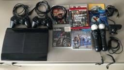 Playstation 3 Slim + Kit MOVE (controles e PS Eye) + Jogos - 100% Original