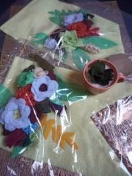 Combo Decoração suculentas +2 bandeiras quadro +1 arranjo vaso