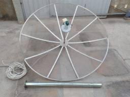 Antena Parabólica Antiga 1,80m com Receptor e Base