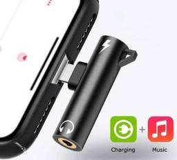 Adaptador iPhone Carregador Lightning + Fone P2 7/8/X/XR/11/12