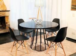 Lançamento!!! Conjunto de mesa redondo 1,10 de diâmetro estilo industrial + 6 cadeiras