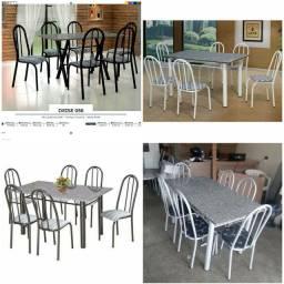 Mesa 6 cadeira mármore nova entrega grátis promoção 838