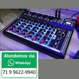 Mesa Som Lelong 7 Canais Bluetooth Usb Interface Audio Mp3 Delay Display