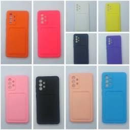 Capinha Capa para celular Samsung A52 Silicone com Porta Cartão