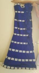 Vestido de festa azul sereia com prata longo tomara que caia seminovo
