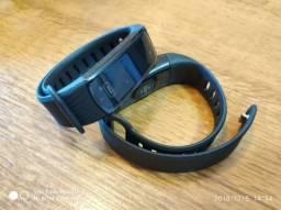 Relógio inteligente tipo Miband Fitness Monitora Pasos Km Sono Coração Calorias Ligações