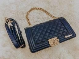 Bolsa de couro sintético azul marinho