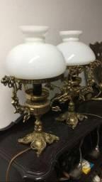 Par de abajur luminária de bronze antiga com opalina