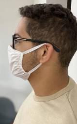 Máscara Cirúrgica Descartável Branca Dupla com Elástico - 50 unidades