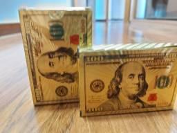 2 Baralho Poker Truco Dólar Dourado