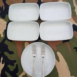 Lote de de 5 porcelana e 2 garfo exclusivo da primeira classe da extinta Varig