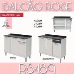 Balcão em aço para cozinha rose
