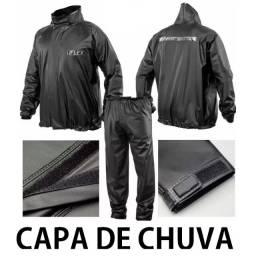 Capa Roupa De Chuva Delta - Delta Flex PVC Preta para Motoqueiros