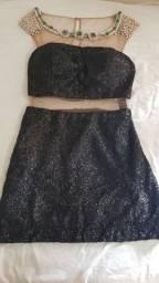 Vestido de festa preto curto bordado paetê com transparência seminovo Patchoulee
