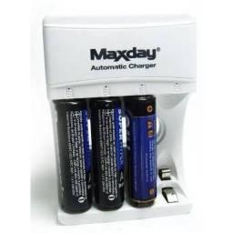 Carregador de Pilhas Automático AA e AAA Maxday para 4 pilhas ao mesmo tempo