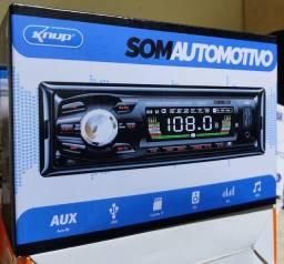 Som automotivo bluetooth cartão SD rádio e auxiliar.