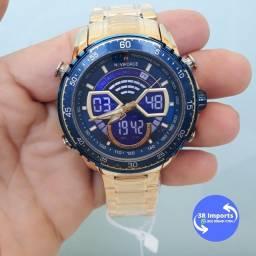 Título do anúncio: Relógio de luxo Dourado NAVIFORCE