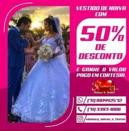 Todos os vestidos de Noiva, estão com 50% de Desconto até dia 31.05.21.
