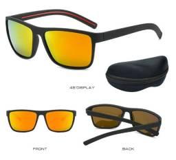 Óculos De Sol Masculino Feminino Polarizado Uv400 Azul Mate Preto Amarelo