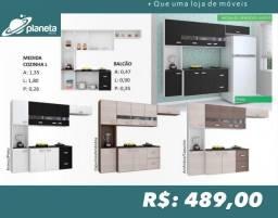 Armário de Cozinha com espaço para geladeira e balcão Armário de Cozinha 1