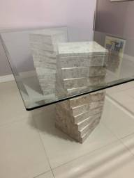 Mesa de vidro base mármore travertino até 8 lugares