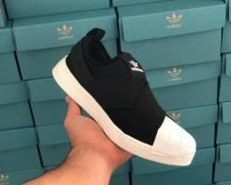 Promoção Tênis Adidas slip on elástico e super star ( 115 com entrega)
