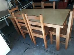 Mesa de madeira teca com 6 cadeiras novo