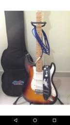 Guitarra vogga stratocaster sunburst com correia capa e cabo e palheta