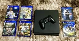 Barato Pra Vender Hoje -PlayStation 4 500Gb Preto Nota Fiscal Completo + 6 Jogos -