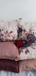 Kit de 05 almofadas decorativas completas e enchimento individual com zíper