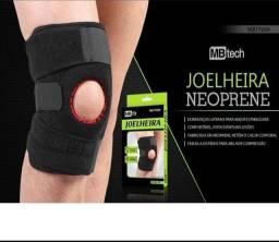 Joelheira Exercicios Fitnnes Esporte Reforçada Articulada MBFit Preta