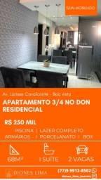 Vendo apartamento 3/4 no condomínio Don Residencial no bairro Boa Vista