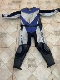 Roupa uniforme conjunto motociclista couro race azul moto esportiva super bike