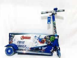 Patinet 3 rodas com luz led e musical homem aranha ou heróis novo 0 km