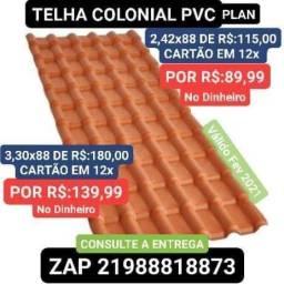 TELHA PLAN Colonial PVC 3,30x88 R$:139,99