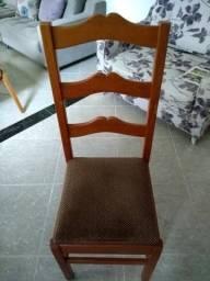 06 cadeiras de madeira retrô, com assento estofado