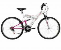 Bicicleta em perfeito estado, cor branca e rosa