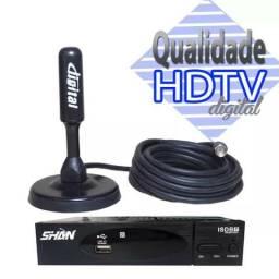 Antena + conversor digital pra qualquer tv