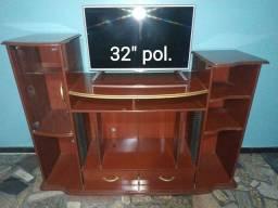 Título do anúncio: Troco Parcelo Rack Alto Madeira Vidro Gavetas Leia Tv LCD Cd Dvd Receptor Home Video Game