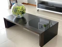 Mesa de centro Sier em madeira e vidro tonalizado