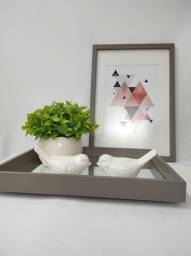 Bandeja pés invisíveis +quadro abstrato com vidro anti-reflexo e paspatur apenas 150!!!