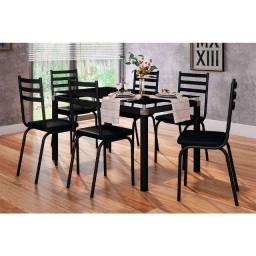 Mesa com 6 cadeira Tampo de Vidro Cadeiras assento em espuma D-30