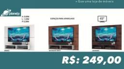 Painel para TV de 49 polegas com espaços para aparelhos painel para tv painel tv