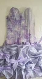Vestido de festa 15 anos lilás bordado babados com renda seminovo